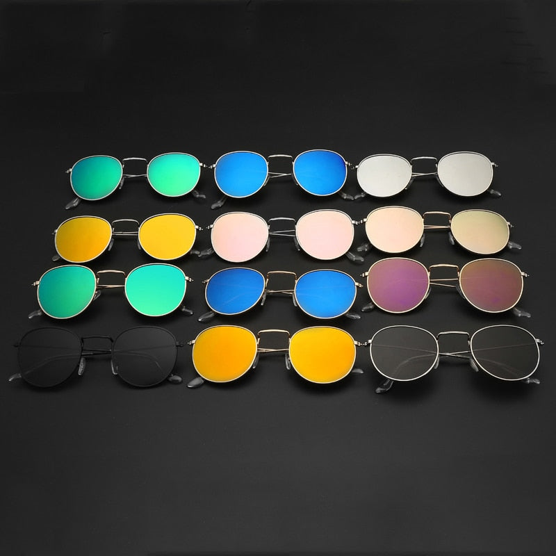 Oval Sunglasses Women Retro Clear Lens Eyewear Round Sun Glasses For Ladies