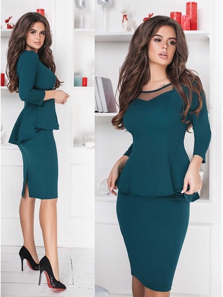 Women Sets 2019 New Arrival Sexy Sheath Mini Dress 3/4 Sleeve Two Pieces
