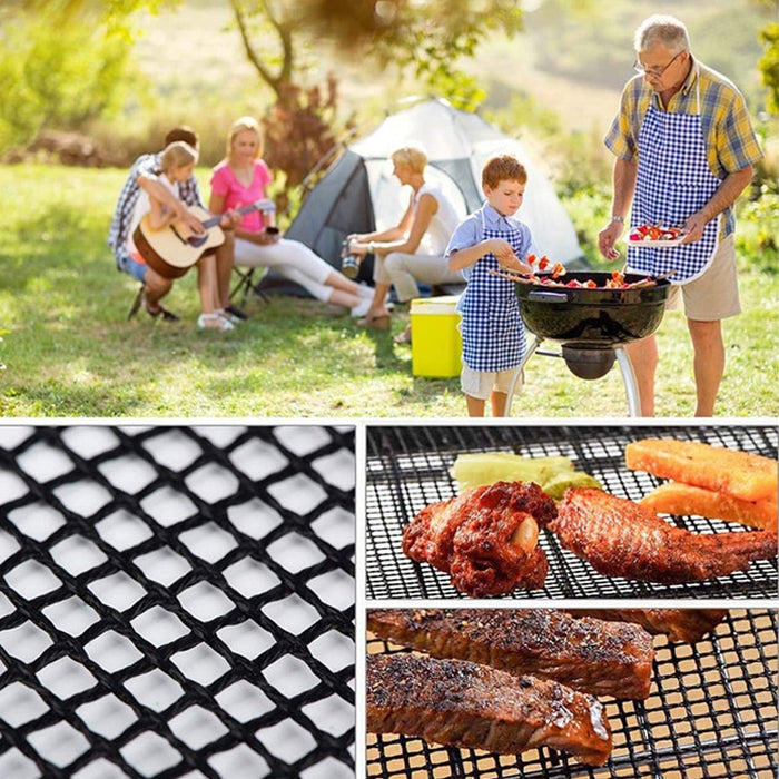 BBQ Grill Mat Reusable Kitchen Cooking Mesh Grill Mat Non-stick Teflon Grilling