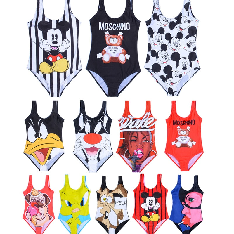 Bikini 2019 Girl Swimsuit Kids Cartoon Mickey Bikini One Piece