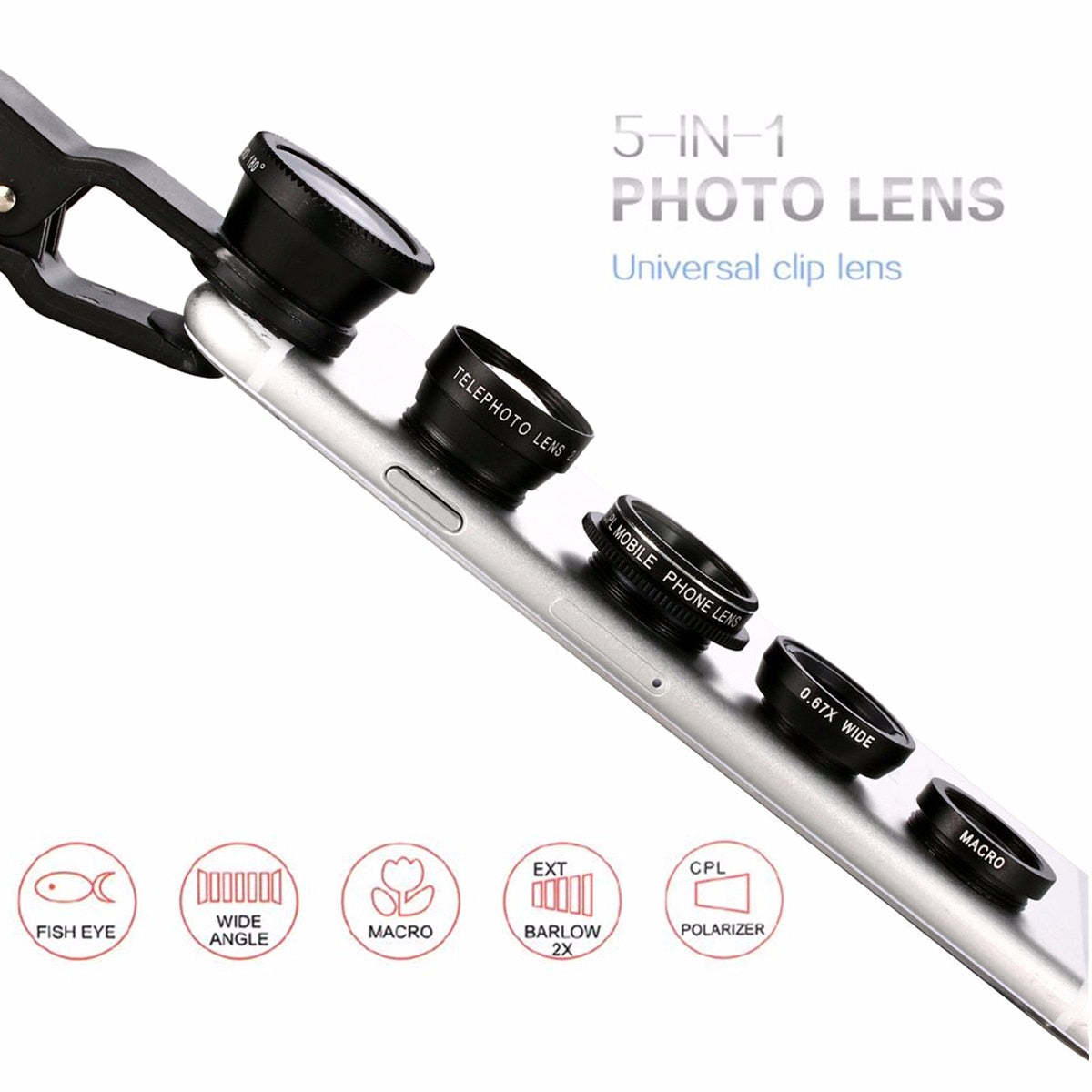 5 in 1 Kits Cell Phone Lenses Fish Eye Lenses Clip for iPhone