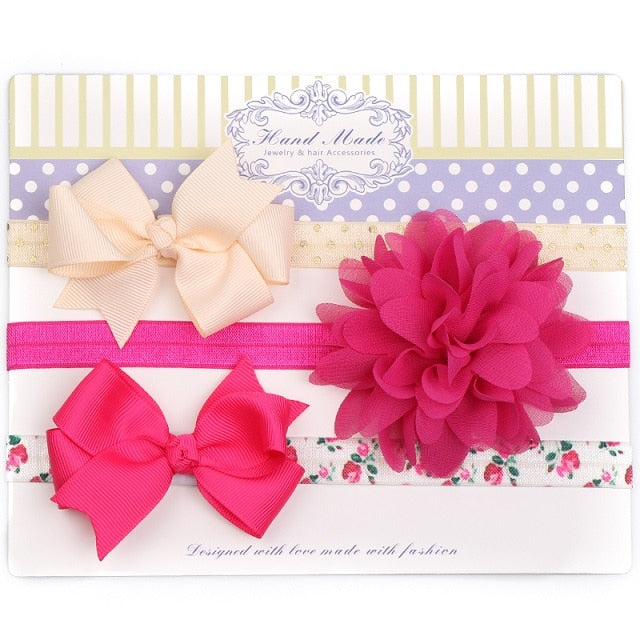 3Pc/Set Baby Headband For Girls Flower Rabbit Ear Baby Big Bows Haarband Turban Baby Hair