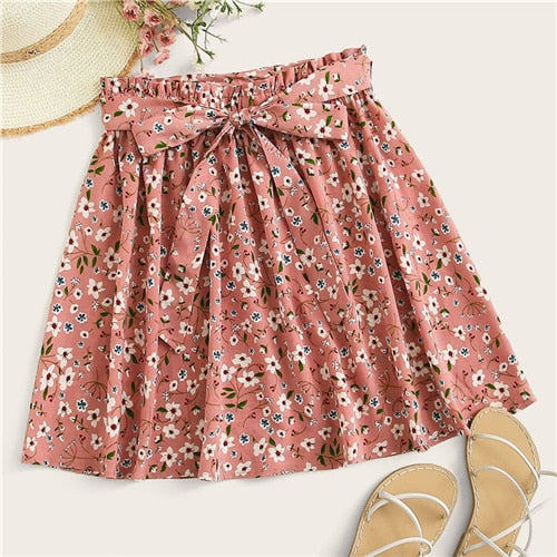 Skirts Womens Summer 2019 Casual Frilled Pleated Mini Skirt