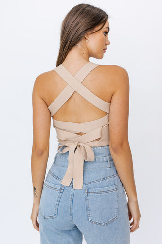 Nude Strappy Back Crop Top