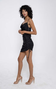 The LBD - Cowl Neck Ruched Satin Slip Dress