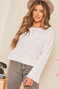 Long Sleeve Waffle Knit V Stitched Top