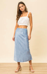Sky Blue Satin Midi Skirt