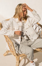 Load image into Gallery viewer, Cut Hem White Denim Jacket with Brown Thread