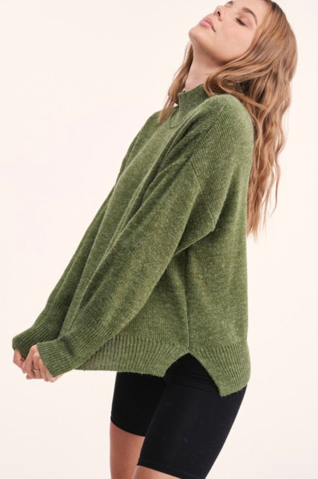 Luxe Mockneck Sweater in Olive