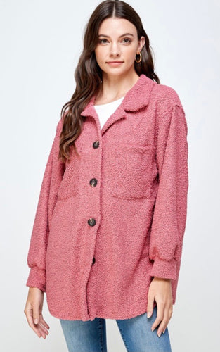 Pink Oversized Teddy Jacket