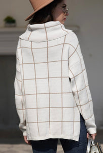 Trendy Grid Sweater Ivory