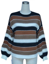 Load image into Gallery viewer, Striped Patchwork Pullover Sweater