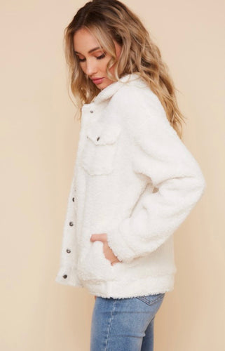 White Oversized Teddy Trucker Jacket