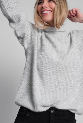 Slouchy Roll Neck Sweater in Grey