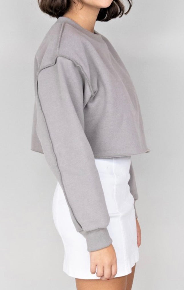 The Taylor - Grey Cropped Crew Neck Sweatshirt