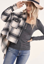 Load image into Gallery viewer, Black Plaid Shirt Jacket with Raw Hem