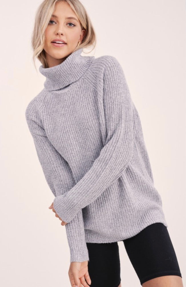 Heather Grey Ribbed Knit Turtleneck Sweater