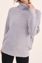 Load image into Gallery viewer, Heather Grey Ribbed Knit Turtleneck Sweater