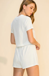 Ribbed Knit Short Sleeve and Shorts Set