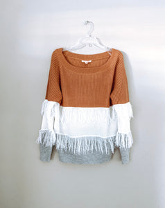 Off Shoulder Color Block Fringe Sweater