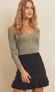Bustier Half Button Bodysuit in Sage
