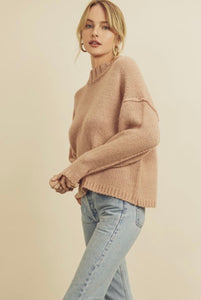 Taupe Mock Neck Pullover Sweater