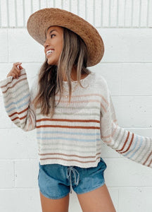 Striped Knit Cropped Pullover Sweater