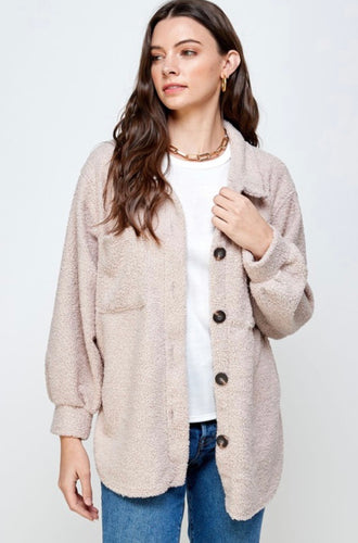 Taupe Oversized Teddy Jacket