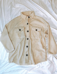 Oversized Teddy Shirt Jacket in Taupe