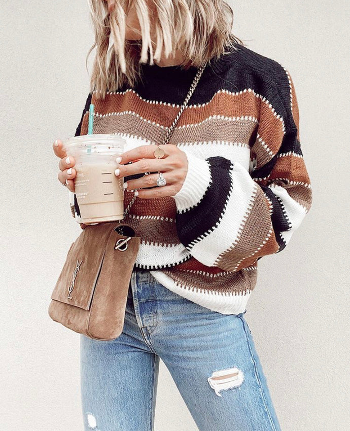 Striped Patchwork Pullover Sweater