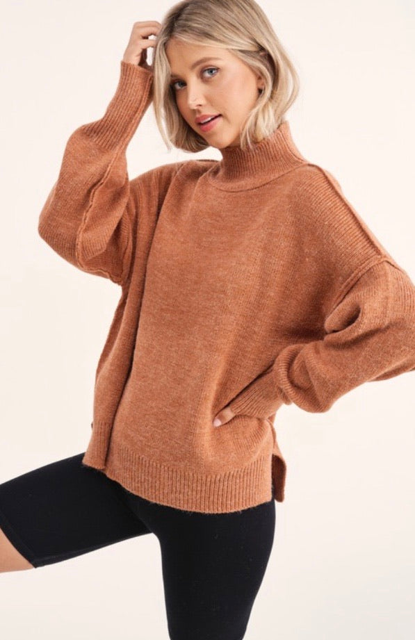 Luxe Mockneck Sweater in Camel