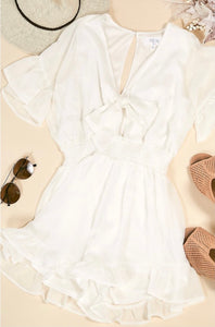 Star Embroidered Off White Romper
