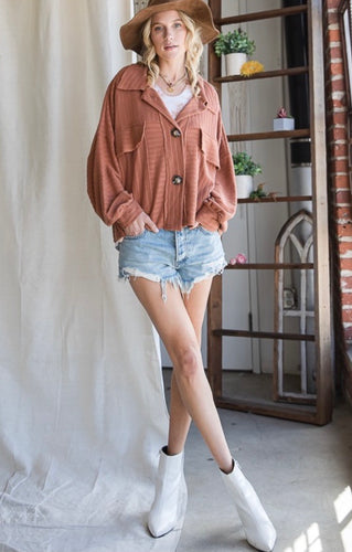Brown Oversized Pocket Buttoned Shacket