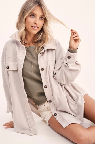 Beige Oversized Fleece Shacket
