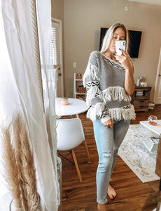 Boho Fringe One Sleeve Sweater