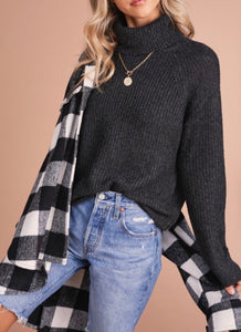 Black Ribbed Knit Turtleneck Sweater