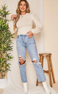Nude Leg-Of-Mutton Long Sleeve Top