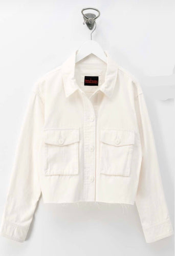 Raw Hem White Denim Jacket - Taylor's Layne Boutique