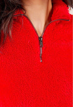 Load image into Gallery viewer, Red Half Zip Teddy Pullover