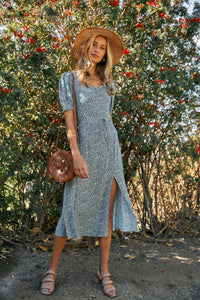 Floral Midi Dress With Front Slit
