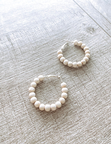 Small Wooden Bead Hoop Earrings