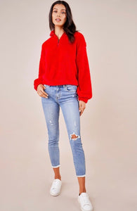 Red Half Zip Teddy Pullover
