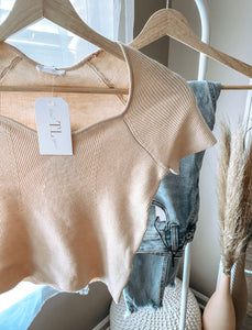 Nude Ribbed Sweater Crop Top