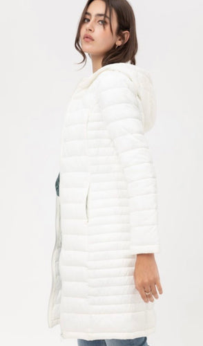 Winter White Light Weight Padded Zip up Coat