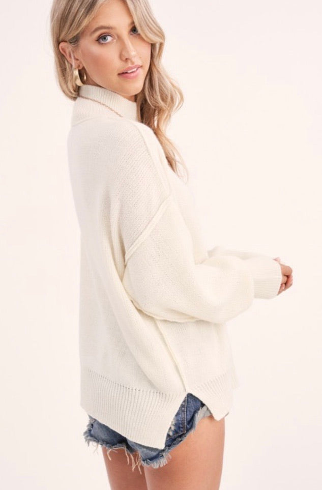 Luxe Mockneck Sweater in Ivory