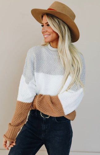 Neutral Oversized Color Block Sweater