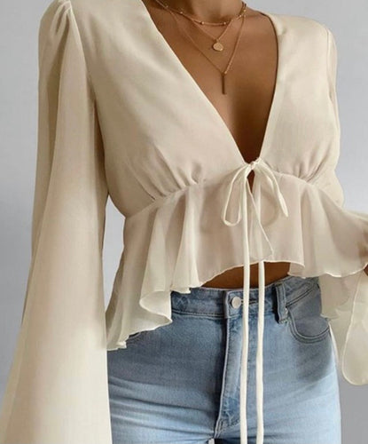 Tie Front Bell Sleeve Babydoll Blouse