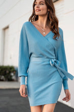 Load image into Gallery viewer, Blue Belted Sweater Dress