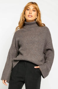 Charcoal Oversized Turtleneck Sweater