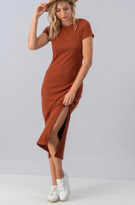 Ribbed Midi Dress with Side Slit
